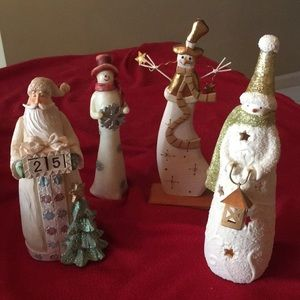 3 Snowmen and Santa Claus Figurines